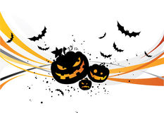 Halloween background. With pumpkins and bats Stock Image