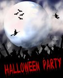 Halloween background. Halloween illustration of full moon, bats, witches, and hands reaching up as if from grave. Good for Halloween party invitations Royalty Free Stock Photo