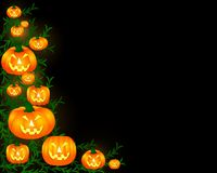 Halloween Background. Illustrated Halloween themed background. Carved pumpkins and greenery adorn the left side, against a black background.  Copy space Royalty Free Stock Photos