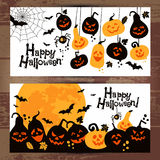 Halloween background banners of cheerful pumpkins. Stock Photos
