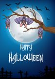 Halloween background with bat cartoon sleeping and hanging on a tree Stock Images