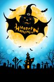 Halloween Background with Bat Monster royalty free illustration