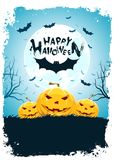 Halloween Background with Bat and Pumpkin Vector Illustration