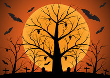 Halloween background with bats and dead trees. Vector illustration Stock Photography