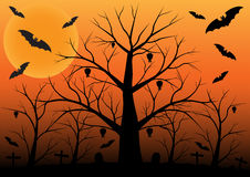 Halloween background with bats and dead trees. Vector illustration Stock Photos