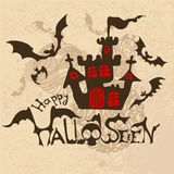 Halloween background with bats and haunted house Stock Photos