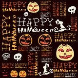 Halloween background with bats and pumpkin. Royalty Free Stock Photo
