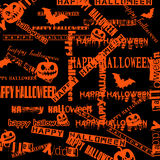 Halloween background with bats and pumpkin. vector illustration Stock Photography