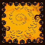 Halloween background with bats and pumpkins Stock Photography