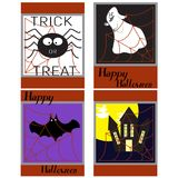 Halloween background-bats, scary castle in the background of a l. Arge moon, and a bunch of cobwebs, a Ghost. The concept of banner, poster, invitation, leaflet Royalty Free Stock Images