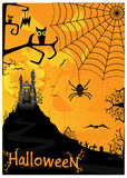 Halloween background with bats spiders and owls Stock Images