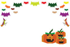 Halloween background bats witches and pumpkins Royalty Free Stock Photos