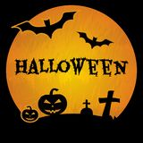 Halloween background with black bats, tomb, crosses, pumpkins and inscription Halloween. Vector stock illustration