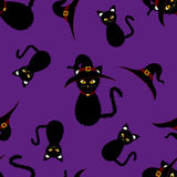 Halloween Background - Black Cat Witch. Vector Illustration.  Stock Photography