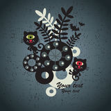 Halloween background with black cats and flora. Vector illustration Stock Image