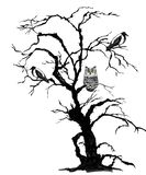 Halloween background. Halloween black scary tree with ravens and owl. Hand drawn ink and watercolor illustration royalty free illustration