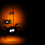 Halloween background with black spiders Stock Photography