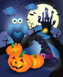 Halloween background in blue Stock Photos