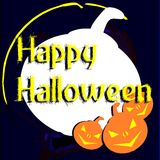 Halloween background in blue with pumpkins Stock Photography