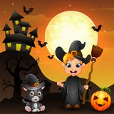 Halloween background with boy witch holding broomstick and pumpkin and kitten witch Royalty Free Stock Photos