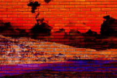 Halloween Background, Brick Wall Reflect from the hell red sky a Stock Photo