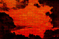 Halloween Background, Brick Wall Reflect from the hell sky color Stock Images