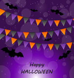 Halloween Background with Buntings and Bats Royalty Free Stock Photos