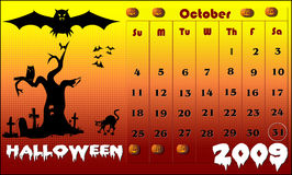 Halloween background, calendar for 2009. Illustration vector illustration