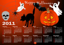 Halloween background calendar vector. Halloween background vector, calendar for 2011. american style (Week starts on Sunday royalty free illustration