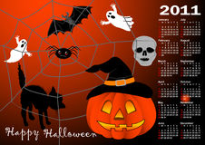 Halloween background calendar vector. Halloween background vector; calendar for 2011. american style (Week starts on Sunday vector illustration