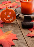 Halloween background with candle light Royalty Free Stock Images
