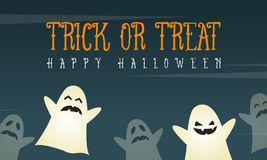 Halloween background card with funny ghost. Vector illustration Royalty Free Stock Photography