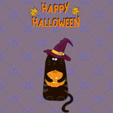 Halloween background. Cartoon black cat in witch hat with a pumpkin. Royalty Free Stock Photo