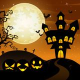 Halloween background with cartoon black pumpkins character Royalty Free Stock Image