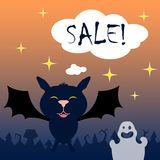 Halloween background with cartoon characters and Sale word bubble Royalty Free Stock Photo