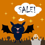Halloween background with cartoon characters and text bubble. Square illustration with bat and ghost. Royalty Free Stock Photos