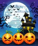 Halloween background with cartoon pumpkins character. Illustration of Halloween background with cartoon pumpkins character stock illustration