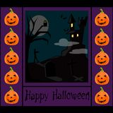 Halloween background with a castle Stock Image