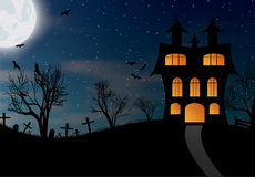 Halloween background with castle, bats and big moon Stock Photos