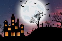 Halloween background with castle, bats and moon. Halloween background with castle, bats and big moon. Vector illustration Stock Image
