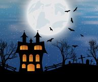 Halloween background with castle, bats and moon. Halloween background with castle, bats and big moon. Vector illustration Stock Images