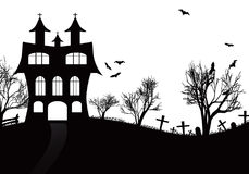 Halloween background with castle, bats and   moon Royalty Free Stock Photos