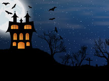 Halloween background with castle, bats and moon Royalty Free Stock Photo
