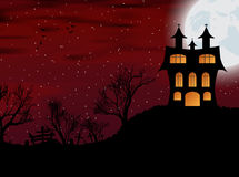 Halloween background with castle, bats and moon Stock Photography
