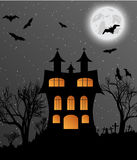 Halloween background with castle, bats and moon. Halloween background with castle, bats and big moon. Vector illustration Stock Photography