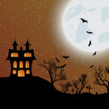 Halloween background with castle, bats and moon. Halloween background with castle, bats and big moon. Vector illustration Royalty Free Stock Photo