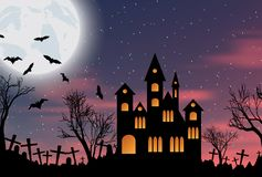 Halloween background with castle, bats and moon. Halloween background with castle, bats and big moon. Vector illustration Royalty Free Stock Photography
