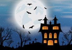 Halloween background with castle, bats and moon. Halloween background with castle, bats and big moon. Vector illustration Stock Photo