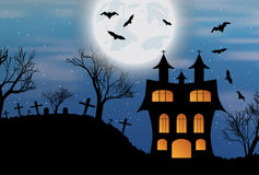 Halloween background with castle, bats and moon. Halloween background with castle, bats and big moon. Vector illustration Royalty Free Stock Images