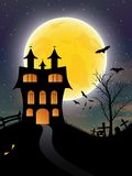 Halloween background with castle, bats and moon Royalty Free Stock Images